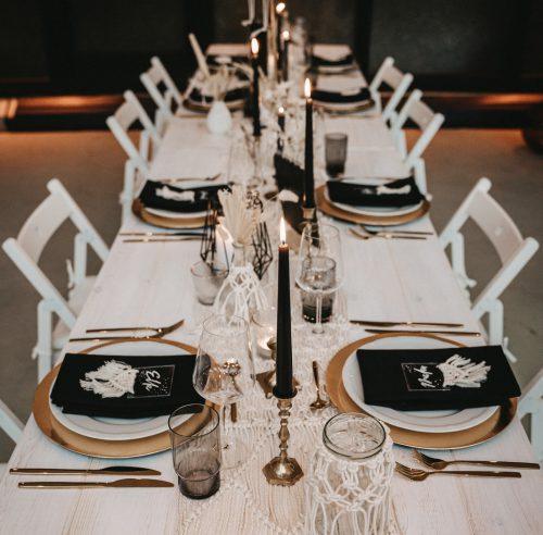 Tisch Weiß mieten Black & White